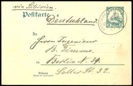 """""""DEUTSCHE SEEPOST SHANGHAI-TIENTSIN * 1.12.08"""" Klar Auf GA-Karte 2 C. Nach Berlin, Katalog: P5 GAGerman Sea..."""