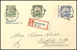 """""""SYFANG 27:5 07"""", Je Klar Und Zentr. Auf Portorichtigem R-Brief Mit 10 C. Und 2mal 2 C. Schiffszeichnung Nach..."""