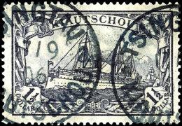 "1 1/2 Dollar Kaiseryacht, Schwarzbraunviolett, Gestempelt ""TSINTAU 17/9 06"" Tadellos, Sehr Seltene Marke, Doppelt..."