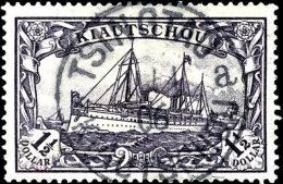 """1 1/2 Dollar Kaiseryacht, A-Zähnung, Zentrisch Gestempelt """"TSINGTAU 11/1 06"""", Kabinett, Fotoattest Steuer BPP,..."""