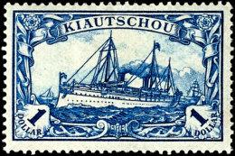 """1 Dollar Kaiseryacht, 26:17 Zähnungslöcher Mit Retusche """"Wertziffer 1 Kreuzweise Schraffiert"""",..."""