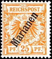 """25 Pfg Dunkelorange Mit Steilem Aufdruck Und Plattenfehler """"I Von Reichspost Oben Gespalten"""", Sauber Ungebraucht..."""