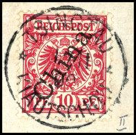 """10 Pfg Lilarot Mit Steilem Aufdruck Auf Briefstück, Klar Und Zentrisch Entwertet Mit """"TSINGTAU 1/11 00"""",..."""