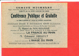 Comité Michelet Conference Publique Inviation Pour Le Jeudi 5 Decembre 1918 - Tickets D'entrée