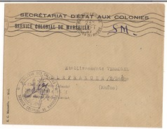 Lettre Service Colonial De Marseille 1942 Cachet ( Ministère Des Colonies ) - Storia Postale