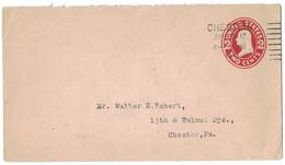 AZ496   USA 1917 Prepaid 2 Cents Cover Chester - Interi Postali