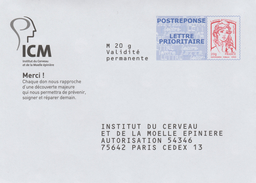 France, ICM, Postal Stationery Answer, Marianne By Ciappa/Kavena, MNH VF - Postal Stamped Stationery