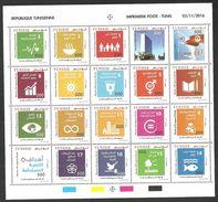 2016- Tunisia- Sustainable Development Goals- MS (20 Stamps) MNH** - Tunisia