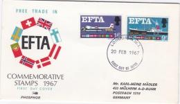 Great Britain 1967 FDC EFTA   Phosphor    (G52-9) - Emissions Communes
