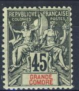 Grand Comore 1900-07 N. 18 C. 45 Nero Su Verde MH Cat. € 10