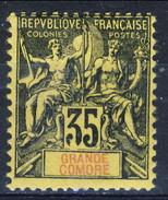 Grand Comore 1900-07 N. 17 C. 35 Nero Su Giallo MH Cat. € 25