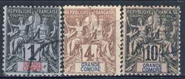 Grand Comore 1897 Tre Valori Della Serie 1-13 Usati Cat. € 11