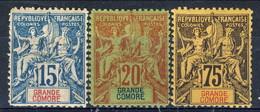 Grand Comore 1897 Tre Valori Della Serie 1-13 MH Cat. € 106