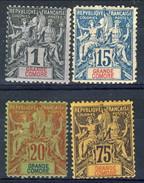 Grand Comore 1897 Quattro Valori Della Serie 1-13 MH Cat. € 107 - Grote Komoren (1897-1912)