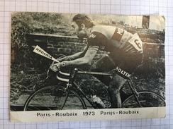 17O - Carte Publicitaire Cyclisme Eddy Merckx Vainqueur Paris Roubaix 1973 Porte Montre Rodania - Publicidad