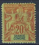 Grand Comore 1897 N. 7 C. 20 Rosso Mattone MH Cat. € 14,50 - Grote Komoren (1897-1912)
