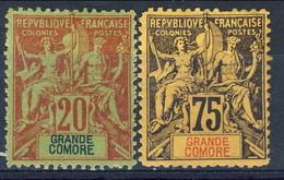 Grand Comore 1897 Due Valori Della Serie 1-13 MH Cat. € 81 - Grote Komoren (1897-1912)