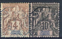 Grand Comore 1897  N. 3 C. 4 E N. 5 C. 10 Usati Timbro Ottagonale Azzurro € 38