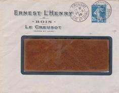 Daguin Solo Le Creusot Saone Loire 1923 Sur Semeuse 25ct Bleue Type 2 - Marcophilie (Lettres)