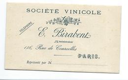 CATALOGUE Années 1920 De VINS Société Vinicole E. BIRABENT, Rue De Courcelles à PARIS (75) - Reclame