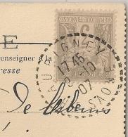 RARE Sur SAGE, Cachet Tireté AUBIGNEY Haute Saone Sur 3C SAGE SEUL Sur CP Pour MISERIEUX Ain. 1907 - 1876-1898 Sage (Type II)