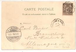 RARE AINSI, 25c SAGE SEUL Sur Carte Postale Pour L'Allemagne. Convoyeur VERSAILLE A PARIS. Tarif SUPERFETATOIRE. - 1876-1898 Sage (Type II)