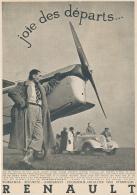 """Ancienne Publicite (1935) : RENAULT, Voiture Et Avion Caudron-Renault,""""Joie Des Départs..."""" Homme à La Pipe - Reclame"""