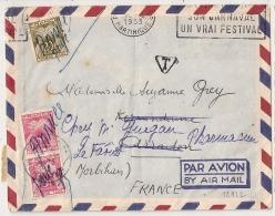 Origine FORT DE FRANCE MARTINIQUE, Double Taxation, ARRADON Et LE FAOUET Morbihan. 1953. 9 TIMBRES TAXES. - Marcophilie (Lettres)