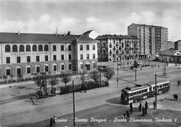"""D5739  """"TORINO -  PIAZZA BENGASI - SCUOLA ELEMENTARE UMBERTO I"""" SACAT 1274, ANIMATA, FILOBUS, VERA FOTO. CART. NON SPED. - Piazze"""