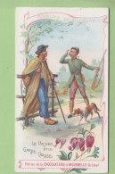 Chromo Aiguebelle  : Fables De Florian, Le Vacher Et Le Garde Chasse. Chocolaterie . 2 Scans. - Aiguebelle