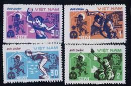 Blk 4 Vietnam Viet Nam MNH 1982 : 9th Asian Games - New Dehli / Elephant / Swimming / Ping Pong / Wrestling (Ms406) - Vietnam
