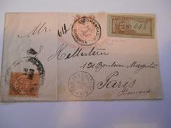 COLOMBIE - Entier Recommandé Avec Complément D'affranchissement Pour Paris - Mars 1903 - P21442 - Colombie