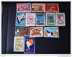 Etiquettes . Lot De 13 Etiquettes Publicitaires( Collées Sur Papier ) - Matchbox Labels