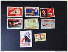 Etiquettes : Lot De 8 étiquettes Diverse .  ( Collées Sur Papier ) - Matchbox Labels
