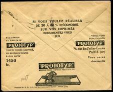 """FRANCE - ENVELOPPE DES CCP AVEC PUBLICITÉ """" POUR LES IMPRIMÉS PROTOTYP """" DE 1935 - TB - Documentos Del Correo"""