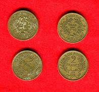 COLONIES - COLONIALES -  TUNISIE - TUNISIA -  LOT  2 FRANCS 1941 + 2 FRANCS 1945