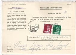 MOTRICO GUIPUZCOA TASA DOCUMENTO CORREOS INSUFICIENCIA DE FRANQUEO 2 MATASELLOS DIFERENTES - 1931-Hoy: 2ª República - ... Juan Carlos I