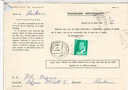 RENTERIA GUIPUZCOA TASA DOCUMENTO CORREOS INSUFICIENCIA DE FRANQUEO MAT VALORES DECLARADOS - 1931-Hoy: 2ª República - ... Juan Carlos I