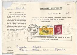 OYARZUN GUIPUZCOA TASA DOCUMENTO CORREOS INSUFICIENCIA DE FRANQUEO MAT AP Y RODILLO RENTERIA - 1931-Hoy: 2ª República - ... Juan Carlos I