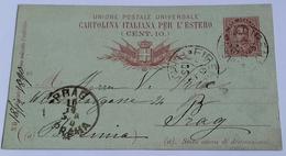 1890 INTERO POSTALE X ESTERO BOEMIA DA FIRENZE A PRAGA (141) - 1878-00 Umberto I