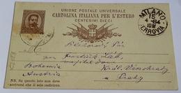 1884 INTERO POSTALE X ESTERO BOEMIA DA MILANO A PRAGA (145) - 1878-00 Umberto I
