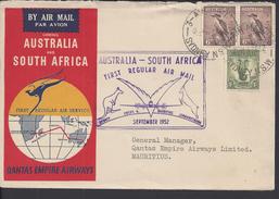 AUSTRALIE - 1952 - 1er Vol Régulier Sydney- Cocos - Mauritius - Johannesbourg - Enveloppe Vers Les Iles Maurice - B/TB - - First Flight Covers
