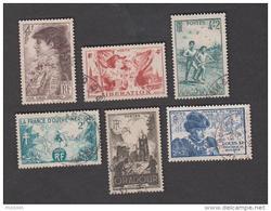 France Oblitérés - N° 738 à 743 - 1945 - TB - Usati