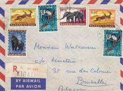 AFRIQUE RUANDA-URUNDI - DEVANT DE LETTRE RECOMMANDEE KIGALI POUR BRUXELLES ANIMALS: GAZELLE SINGE ELEPHANT GORILLE/ 6252 - Ruanda-Urundi