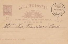 Portugal: 1887: Ganzsache Abrantes - Portugal