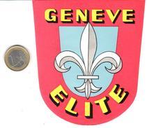 ETIQUETA DE HOTEL  -ELITE  -GENEVE (GINEBRA) SUIZA  (CON CHANELA) - Hotel Labels