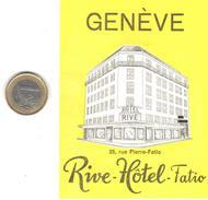 ETIQUETA DE HOTEL  -RIVE HOTEL FATIO  -GENEVE (GINEBRA) SUIZA  (CON CHANELA) - Hotel Labels