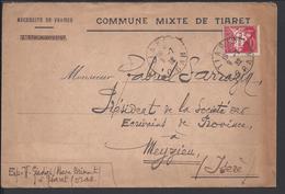 """ALGERIE - 1932 - """" Commune Mixte De Tiaret """" Enveloppe De Oran Pour Le Président Des Ecrivains De Province De Meyzieu - - Algeria (1924-1962)"""