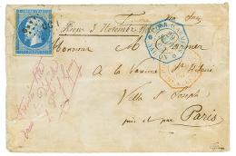 """""""Timbre de FRANCE utilisé en INDOCHINE """" : 1863 20c(n°14) obl. CCH + CORR. D'ARMEES SAIGON sur enveloppe au t"""