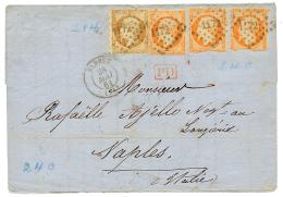 """""""PIQUAGE D' ELBEUF """" : 1861 10c(n°13) + 40c(n°16)x3 PIQUAGE spécial obl. PC 1172 + T.15 ELBEUF sur lettre"""